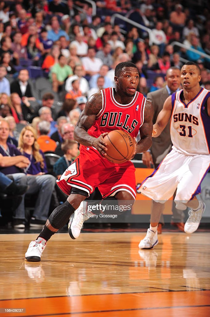 Nate Robinson #2 of the Chicago Bulls drives against the Phoenix Suns on November 14, 2012 at U.S. Airways Center in Phoenix, Arizona.