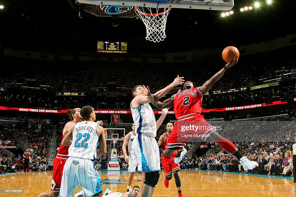 <a gi-track='captionPersonalityLinkClicked' href=/galleries/search?phrase=Nate+Robinson&family=editorial&specificpeople=208906 ng-click='$event.stopPropagation()'>Nate Robinson</a> #2 of the Chicago Bulls drives to the basket against Jason Smith #14 of the New Orleans Hornets on February 19, 2013 at the New Orleans Arena in New Orleans, Louisiana.