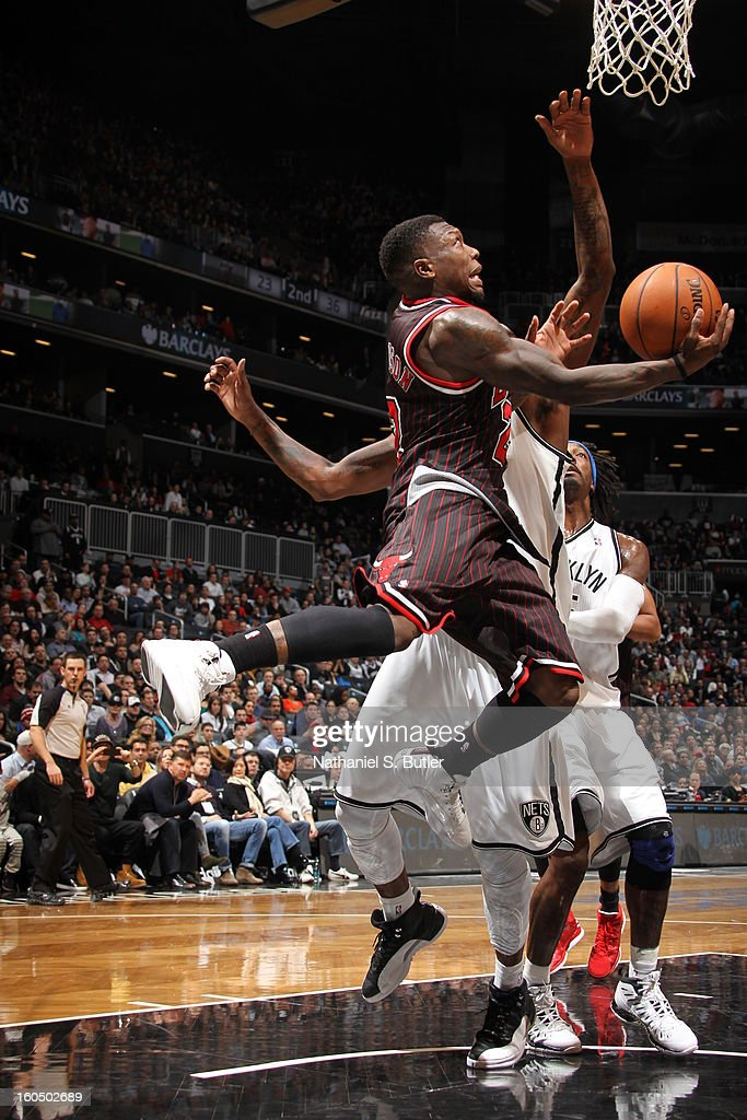 Nate Robinson #2 of the Chicago Bulls drives to the basket against the Brooklyn Nets on February 1, 2013 at the Barclays Center in the Brooklyn borough of New York City.
