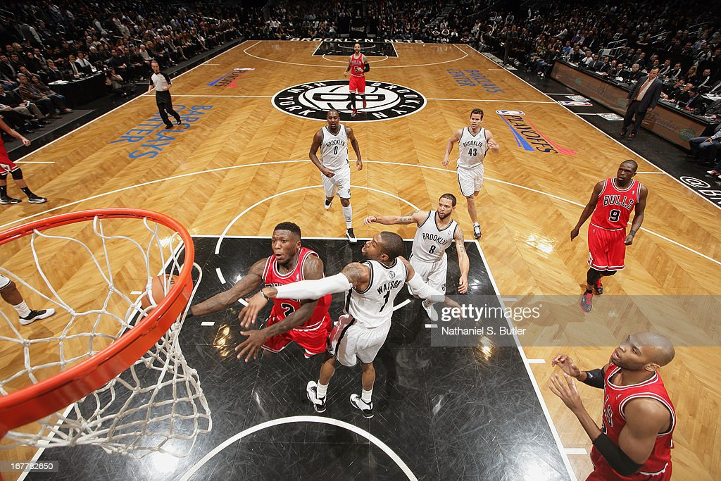 Nate Robinson #2 of the Chicago Bulls drives to the basket against the Brooklyn Nets in Game Five of the Eastern Conference Quarterfinals during the 2013 NBA Playoffs on April 29 at the Barclays Center in the Brooklyn borough of New York City.
