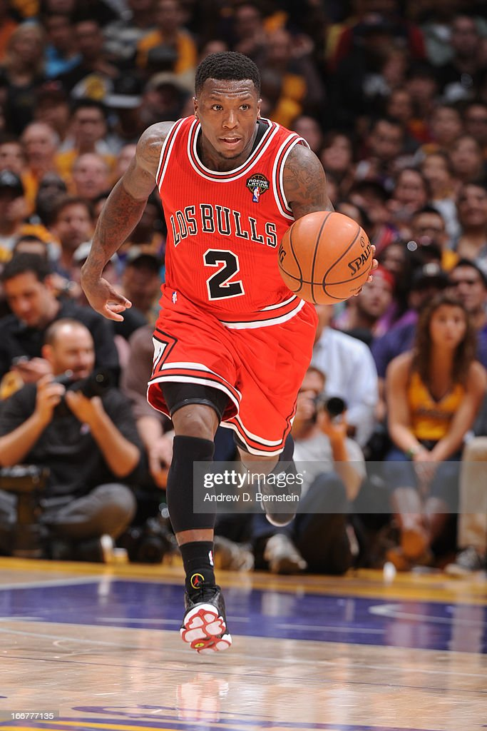 <a gi-track='captionPersonalityLinkClicked' href=/galleries/search?phrase=Nate+Robinson&family=editorial&specificpeople=208906 ng-click='$event.stopPropagation()'>Nate Robinson</a> #2 of the Chicago Bulls drives up-court against the Los Angeles Lakers at Staples Center on March 10, 2013 in Los Angeles, California.