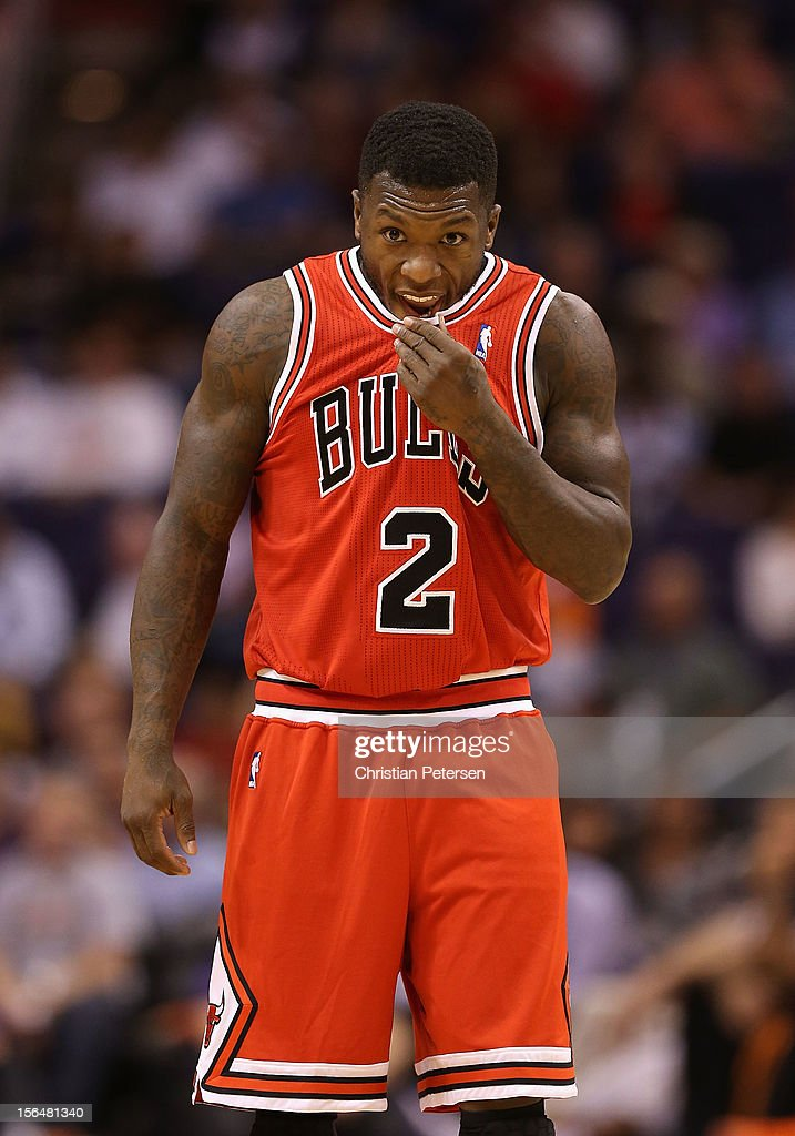 Nate Robinson #2 of the Chicago Bulls during the NBA game against the Phoenix Suns at US Airways Center on November 14, 2012 in Phoenix, Arizona. The Bulls defeated the Suns 112-106 in overtime.