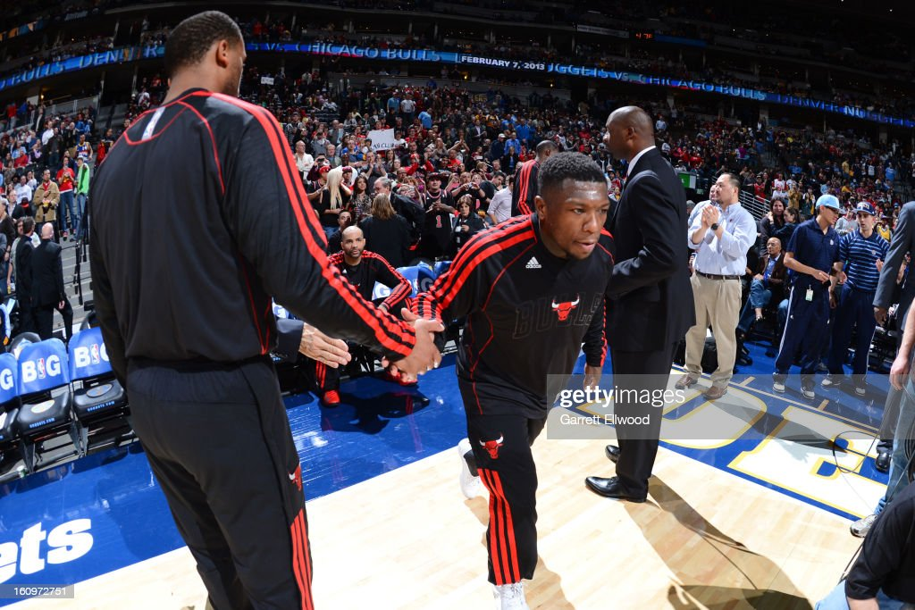<a gi-track='captionPersonalityLinkClicked' href=/galleries/search?phrase=Nate+Robinson&family=editorial&specificpeople=208906 ng-click='$event.stopPropagation()'>Nate Robinson</a> #2 of the Chicago Bulls gets introduced before the game against the Denver Nuggets on February 7, 2013 at the Pepsi Center in Denver, Colorado.