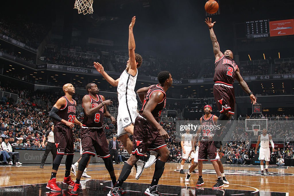Nate Robinson #2 of the Chicago Bulls grabs a rebound against the Brooklyn Nets on February 1, 2013 at the Barclays Center in the Brooklyn borough of New York City.