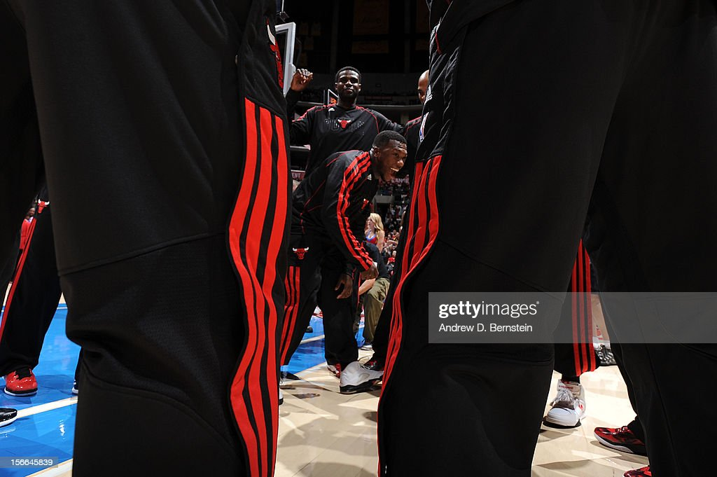 Nate Robinson #2 of the Chicago Bulls is surrounded by his teammates before their game against the Los Angeles Clippers at Staples Center on November 17, 2012 in Los Angeles, California.