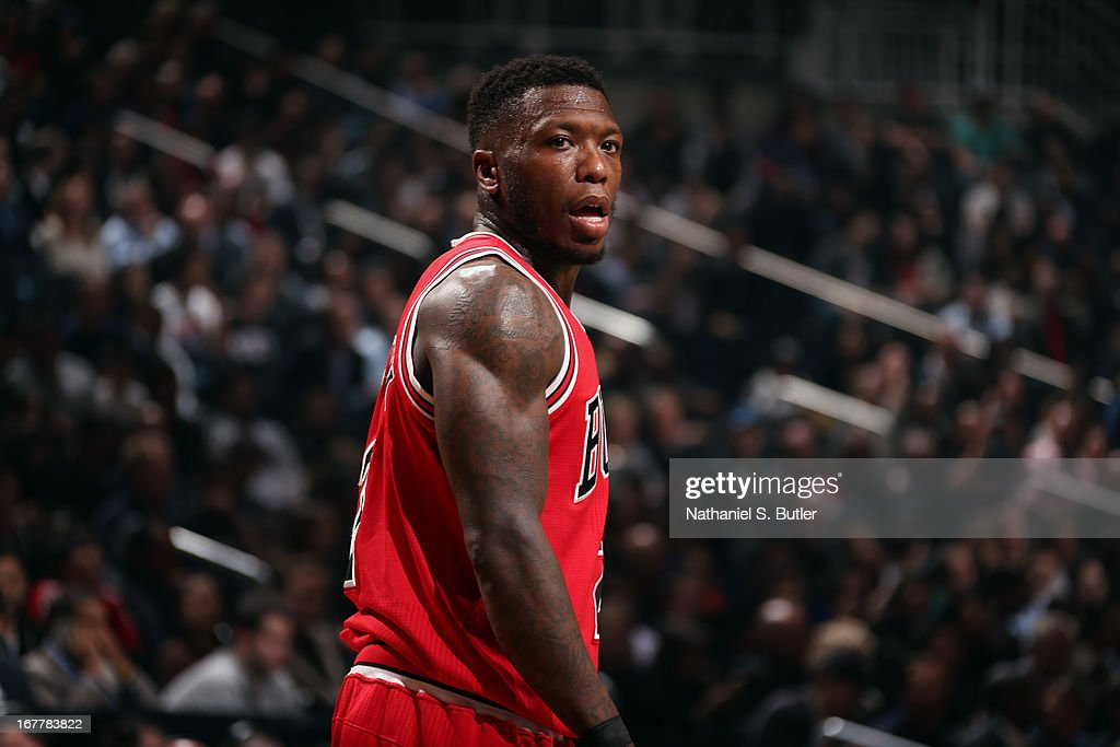 Nate Robinson #8 of the Chicago Bulls looks on against the Brooklyn Nets in Game Five of the Eastern Conference Quarterfinals during the 2013 NBA Playoffs on April 29 at the Barclays Center in the Brooklyn borough of New York City.