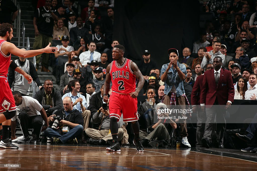 Nate Robinson #2 of the Chicago Bulls looks on against the Brooklyn Nets in Game Five of the Eastern Conference Quarterfinals during the 2013 NBA Playoffs on April 29 at the Barclays Center in the Brooklyn borough of New York City.