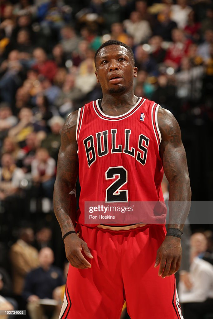 Nate Robinson #2 of the Chicago Bulls looks on during the game between the Indiana Pacers and the Chicago Bulls on February 4, 2013 at Bankers Life Fieldhouse in Indianapolis, Indiana.