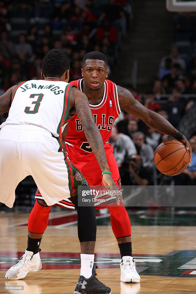<a gi-track='captionPersonalityLinkClicked' href=/galleries/search?phrase=Nate+Robinson&family=editorial&specificpeople=208906 ng-click='$event.stopPropagation()'>Nate Robinson</a> #2 of the Chicago Bulls looks to drive to the basket against the Milwaukee Bucks on January 30, 2013 at the BMO Harris Bradley Center in Milwaukee, Wisconsin.