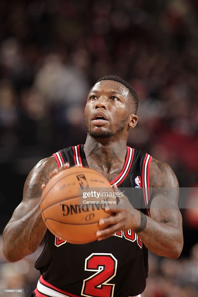 Nate Robinson #2 of the Chicago Bulls prepares for a free throw during the game between the Chicago Bulls and the Portland Trail Blazers on November 18, 2012 at the Rose Garden Arena in Portland, Oregon.