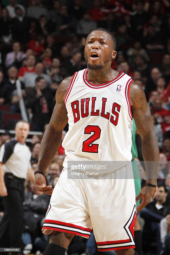 Nate Robinson #2 of the Chicago Bulls reacts after hitting a basket in the fourth quarter of the game against the Boston Celtics on December 18, 2012 at the United Center in Chicago, Illinois.