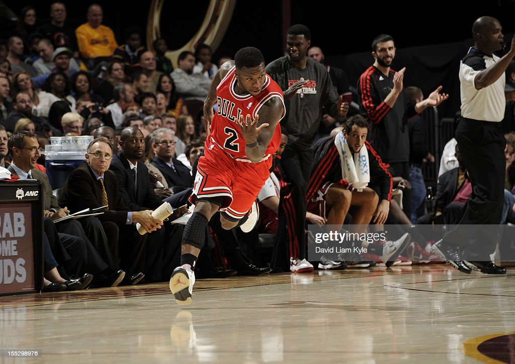 <a gi-track='captionPersonalityLinkClicked' href=/galleries/search?phrase=Nate+Robinson&family=editorial&specificpeople=208906 ng-click='$event.stopPropagation()'>Nate Robinson</a> #2 of the Chicago Bulls responds after scoring a basket against the Cleveland Cavaliers at The Quicken Loans Arena on November 2, 2012 in Cleveland, Ohio.