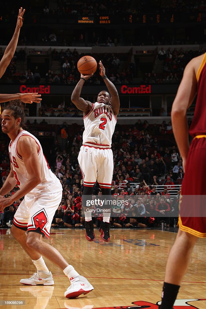 <a gi-track='captionPersonalityLinkClicked' href=/galleries/search?phrase=Nate+Robinson&family=editorial&specificpeople=208906 ng-click='$event.stopPropagation()'>Nate Robinson</a> #2 of the Chicago Bulls shoots against the Cleveland Cavaliers on January 7, 2013 at the United Center in Chicago, Illinois.