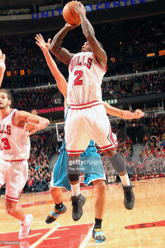 <a gi-track='captionPersonalityLinkClicked' href=/galleries/search?phrase=Nate+Robinson&family=editorial&specificpeople=208906 ng-click='$event.stopPropagation()'>Nate Robinson</a> #2 of the Chicago Bulls shoots against the New Orleans Hornets on November 3, 2012 at the United Center in Chicago, Illinois.