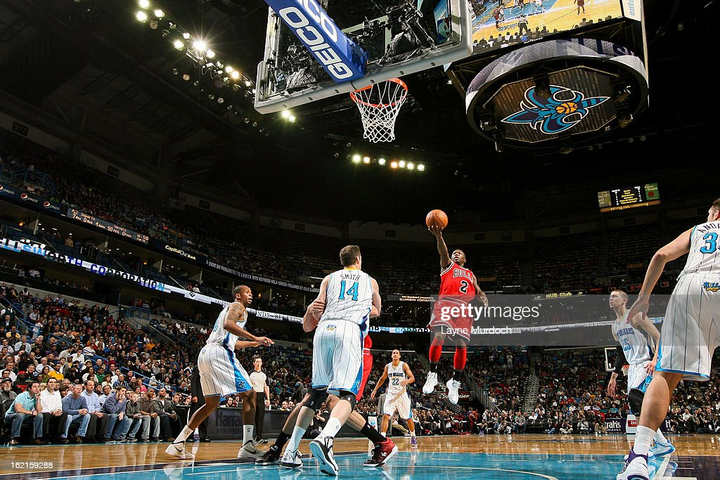 <a gi-track='captionPersonalityLinkClicked' href=/galleries/search?phrase=Nate+Robinson&family=editorial&specificpeople=208906 ng-click='$event.stopPropagation()'>Nate Robinson</a> #2 of the Chicago Bulls shoots in the layup against Jason Smith #14 of the New Orleans Hornets on February 19, 2013 at the New Orleans Arena in New Orleans, Louisiana.