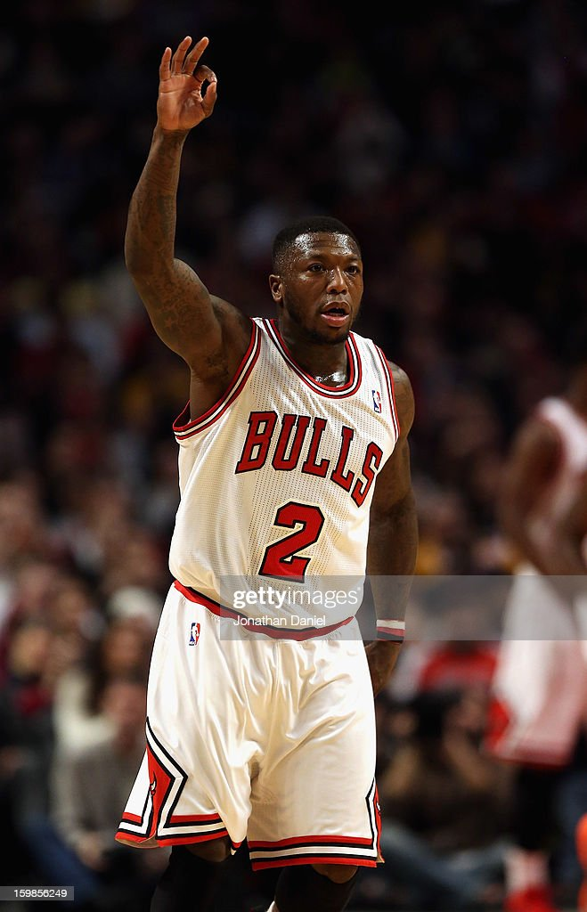 Nate Robinson #2 of the Chicago Bulls signals after hitting a three point shot against the Los Angeles Lakers at the United Center on January 21, 2013 in Chicago, Illinois.