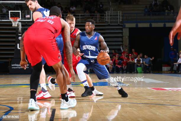 Nate Robinson of the Delaware 87ers against David Laury III of the Windy City Bulls during the game on March 25 2017 at Bob Carpenter Center in...