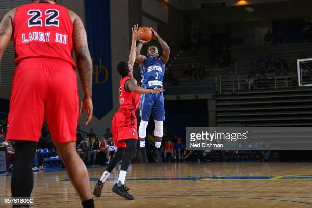 Nate Robinson of the Delaware 87ers against John Octeus of the Windy City Bulls during the game on March 25 2017 at Bob Carpenter Center in Newark...