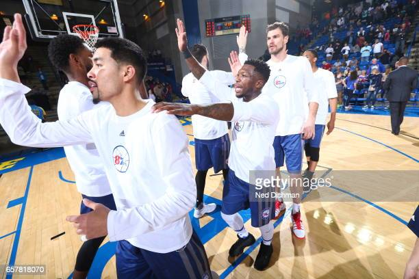 Nate Robinson of the Delaware 87ers his teammates against the Windy City Bulls during the game on March 25 2017 at Bob Carpenter Center in Newark...