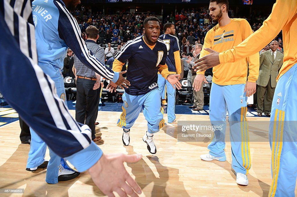 Nate Robinson #10 of the Denver Nuggets before a game against the Charlotte Bobcats on January 29, 2014 at the Pepsi Center in Denver, Colorado.
