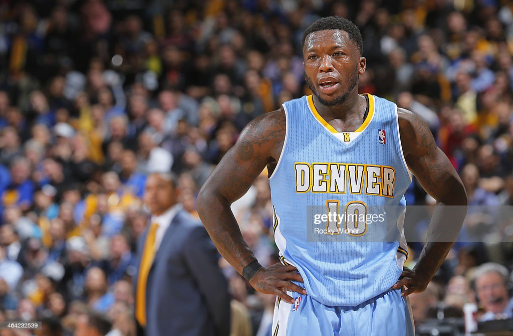 Nate Robinson #10 of the Denver Nuggets during a game against the Golden State Warriors on January 15, 2014 at Oracle Arena in Oakland, California.