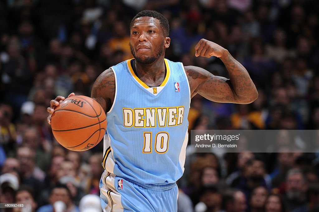 <a gi-track='captionPersonalityLinkClicked' href=/galleries/search?phrase=Nate+Robinson&family=editorial&specificpeople=208906 ng-click='$event.stopPropagation()'>Nate Robinson</a> #10 of the Denver Nuggets during a game against the Los Angeles Lakers at STAPLES Center on January 5, 2014 in Los Angeles, California.
