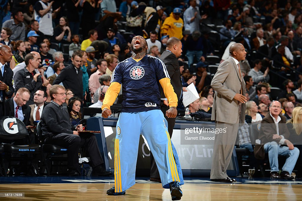 Nate Robinson #10 of the Denver Nuggets gets pumped up against the Atlanta Hawks on November 7, 2013 at the Pepsi Center in Denver, Colorado.