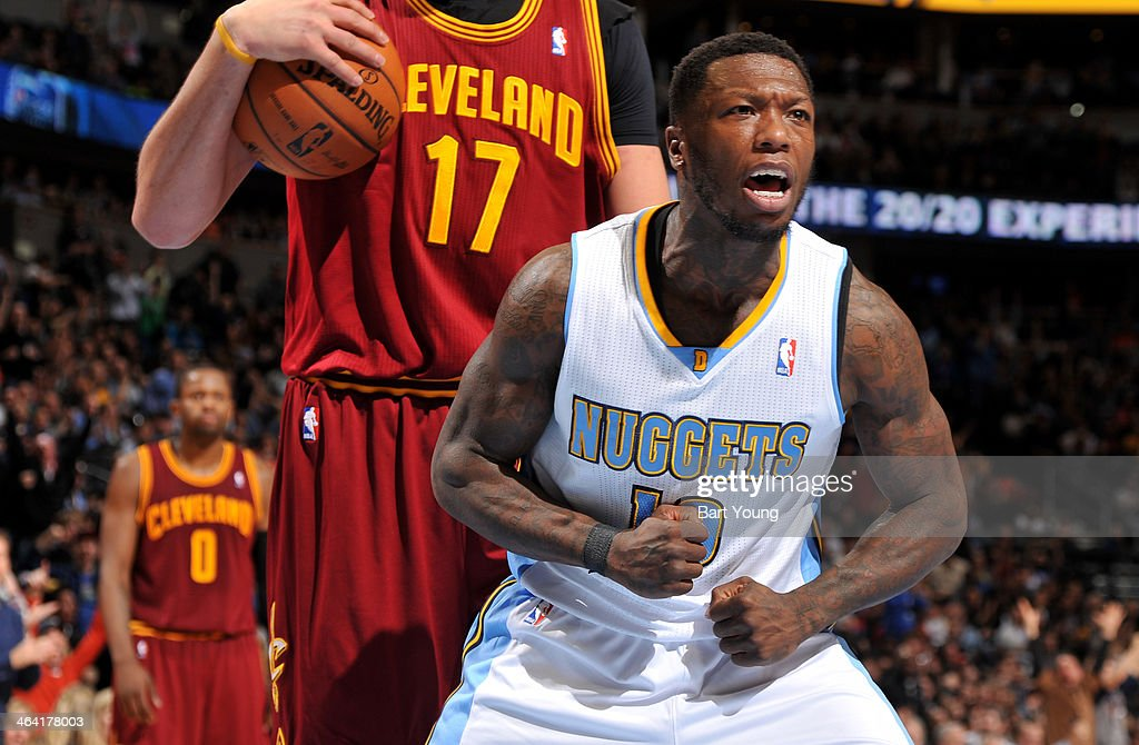 Nate Robinson #10 of the Denver Nuggets reacts to a play during the game against the Cleveland Cavaliers on January 17, 2014 at the Pepsi Center in Denver, Colorado.