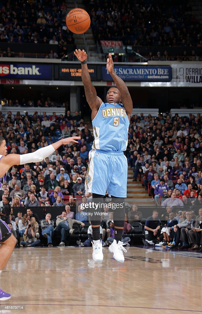 <a gi-track='captionPersonalityLinkClicked' href=/galleries/search?phrase=Nate+Robinson&family=editorial&specificpeople=208906 ng-click='$event.stopPropagation()'>Nate Robinson</a> #5 of the Denver Nuggets shoots a three pointer against the Sacramento Kings on January 9, 2015 at Sleep Train Arena in Sacramento, California.