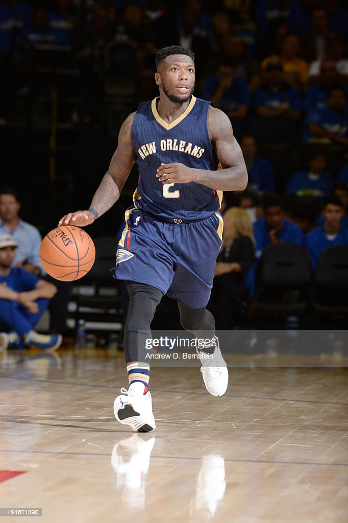 <a gi-track='captionPersonalityLinkClicked' href=/galleries/search?phrase=Nate+Robinson&family=editorial&specificpeople=208906 ng-click='$event.stopPropagation()'>Nate Robinson</a> #2 of the New Orleans Pelicans handles the ball against the Golden State Warriors on October 27, 2015 at ORACLE Arena in Oakland, California.