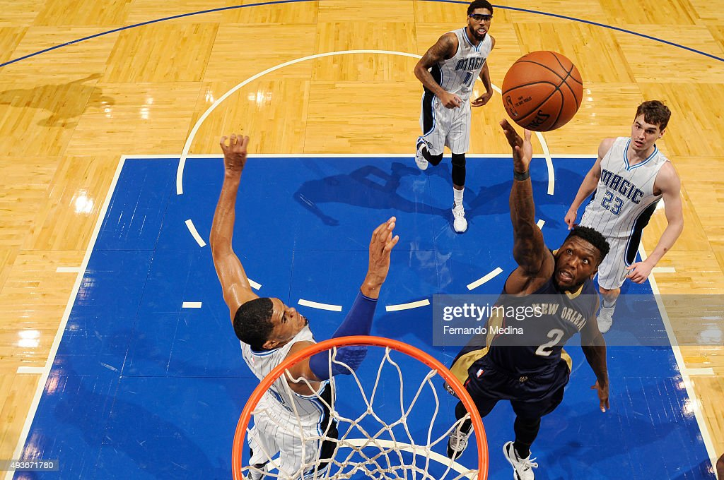 <a gi-track='captionPersonalityLinkClicked' href=/galleries/search?phrase=Nate+Robinson&family=editorial&specificpeople=208906 ng-click='$event.stopPropagation()'>Nate Robinson</a> #2 of the New Orleans Pelicans shoots the ball against the Orlando Magic during a preseason game on October 21, 2015 at Amway Center in Orlando, Florida.