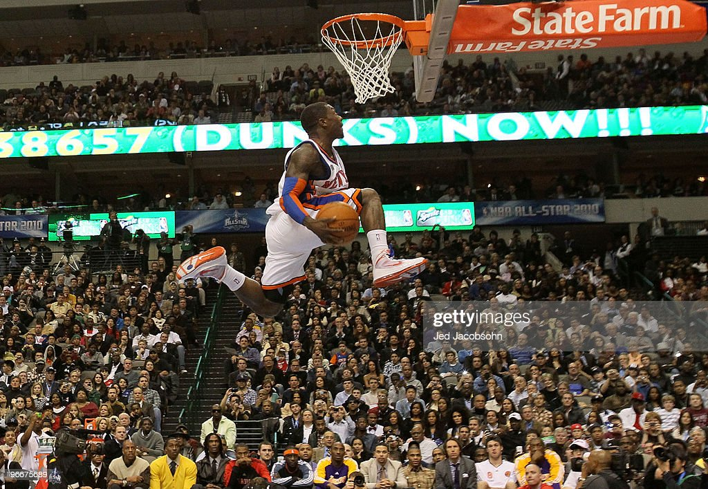 <a gi-track='captionPersonalityLinkClicked' href=/galleries/search?phrase=Nate+Robinson&family=editorial&specificpeople=208906 ng-click='$event.stopPropagation()'>Nate Robinson</a> #2 of the New York Knicks attempts a dunk during the Sprite Slam Dunk Contest on All-Star Saturday Night, part of 2010 NBA All-Star Weekend at American Airlines Center on February 13, 2010 in Dallas, Texas.
