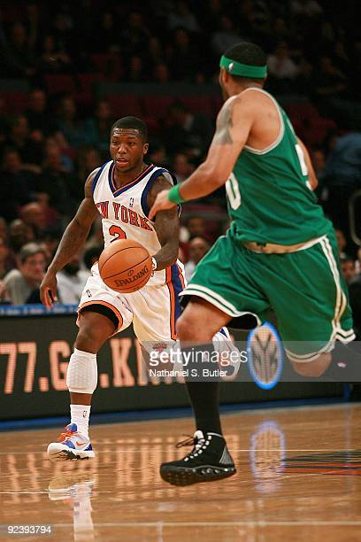 40a898632 ... Nate Robinson of the New York Knicks drives the ball against Eddie  House of the Boston ...