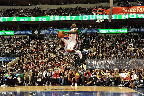 Nate Robinson of the New York Knicks dunks during the Sprite Slam Dunk Contest on AllStar Saturday Night as part of 2010 NBA AllStar Weekend at...