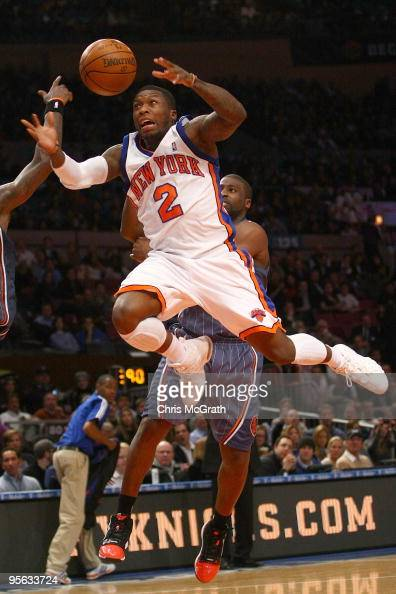 Nate Robinson of the New York Knicks has the ball stripped by Raymond Felton of the Charlotte Bobcats at Madison Square Garden January 7 2010 in New...