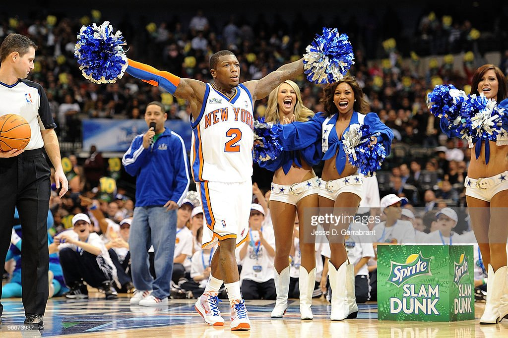 <a gi-track='captionPersonalityLinkClicked' href=/galleries/search?phrase=Nate+Robinson&family=editorial&specificpeople=208906 ng-click='$event.stopPropagation()'>Nate Robinson</a> of the New York Knicks reacts after a dunk during the Sprite Slam Dunk Contest on All-Star Saturday Night, as part of 2010 NBA All-Star Weekend at American Airlines Center on February 13, 2010 in Dallas, Texas.