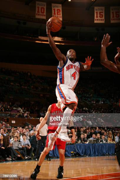 Nate Robinson of the New York Knicks shoots against the Toronto Raptors on January 11 2008 at Madison Square Garden in New York City NOTE TO USER...