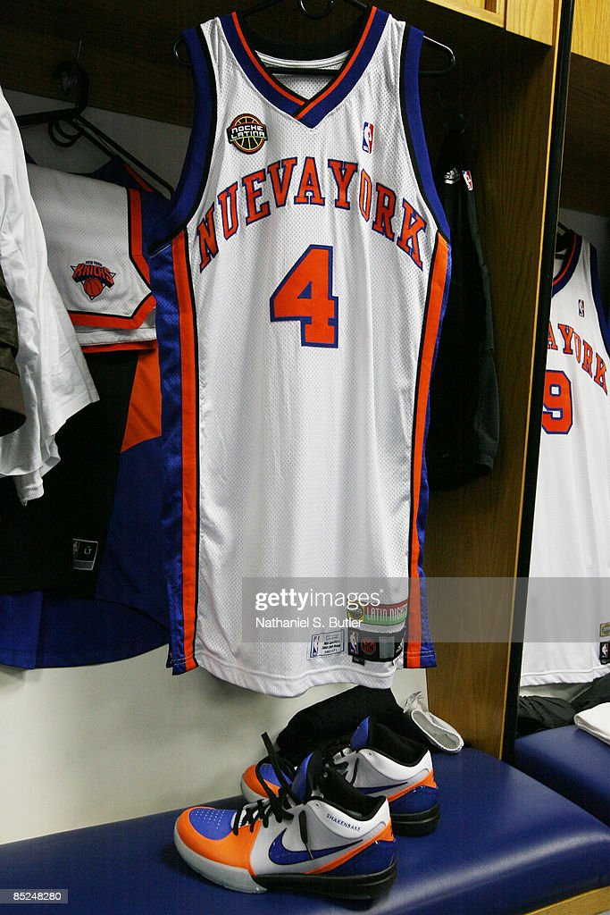 ce27864c78a ... Nate Robinsons 4 jersey of the New York Knicks hangs in the locker room  before .