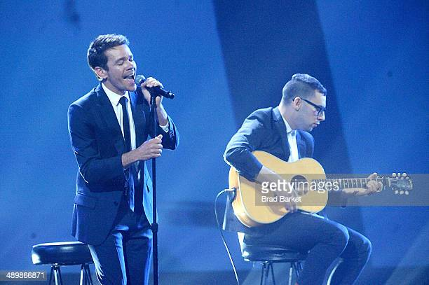 Nate Ruess and Jack Antonoff of Fun perform at The Robin Hood Foundation's 2014 Benefit at Jacob Javitz Center on May 12 2014 in New York City