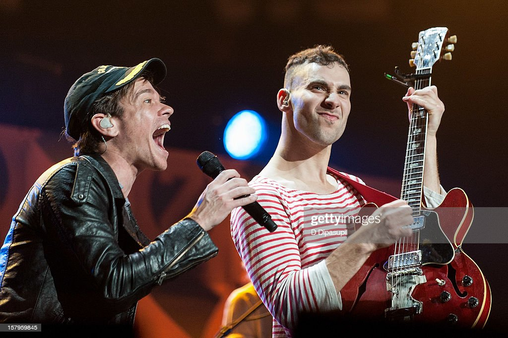 Nate Ruess (L) and Jack Antonoff of Fun. perform during Z100's Jingle Ball 2012 presented by Aeropostale at Madison Square Garden on December 7, 2012 in New York City.