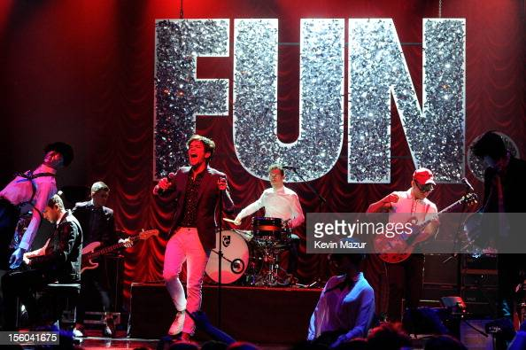 Nate Ruess Andrew Dost and Jack Antonoff of Fun perform onstage during the MTV EMA's 2012 at Festhalle Frankfurt on November 11 2012 in Frankfurt am...