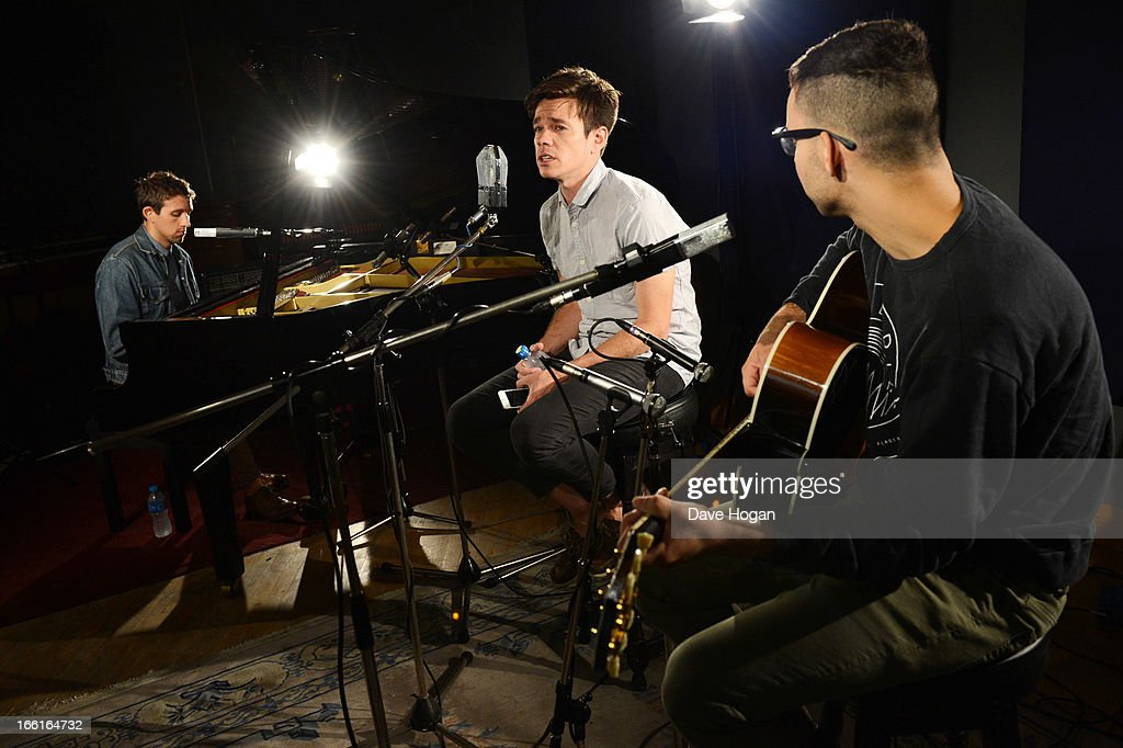 Nate Ruess Andrew Dost and Jack Antonoff of Fun performs for a Biz Session on July 10 2012 in London England
