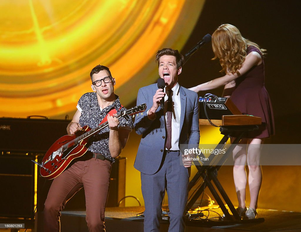 <a gi-track='captionPersonalityLinkClicked' href=/galleries/search?phrase=Nate+Ruess&family=editorial&specificpeople=6897270 ng-click='$event.stopPropagation()'>Nate Ruess</a>, <a gi-track='captionPersonalityLinkClicked' href=/galleries/search?phrase=Andrew+Dost&family=editorial&specificpeople=7336071 ng-click='$event.stopPropagation()'>Andrew Dost</a>, <a gi-track='captionPersonalityLinkClicked' href=/galleries/search?phrase=Jack+Antonoff&family=editorial&specificpeople=2565373 ng-click='$event.stopPropagation()'>Jack Antonoff</a> and the band fun. perform onstage at the 'Teachers Rock' benefit event held at Nokia Theatre L.A. Live on August 14, 2012 in Los Angeles, California.