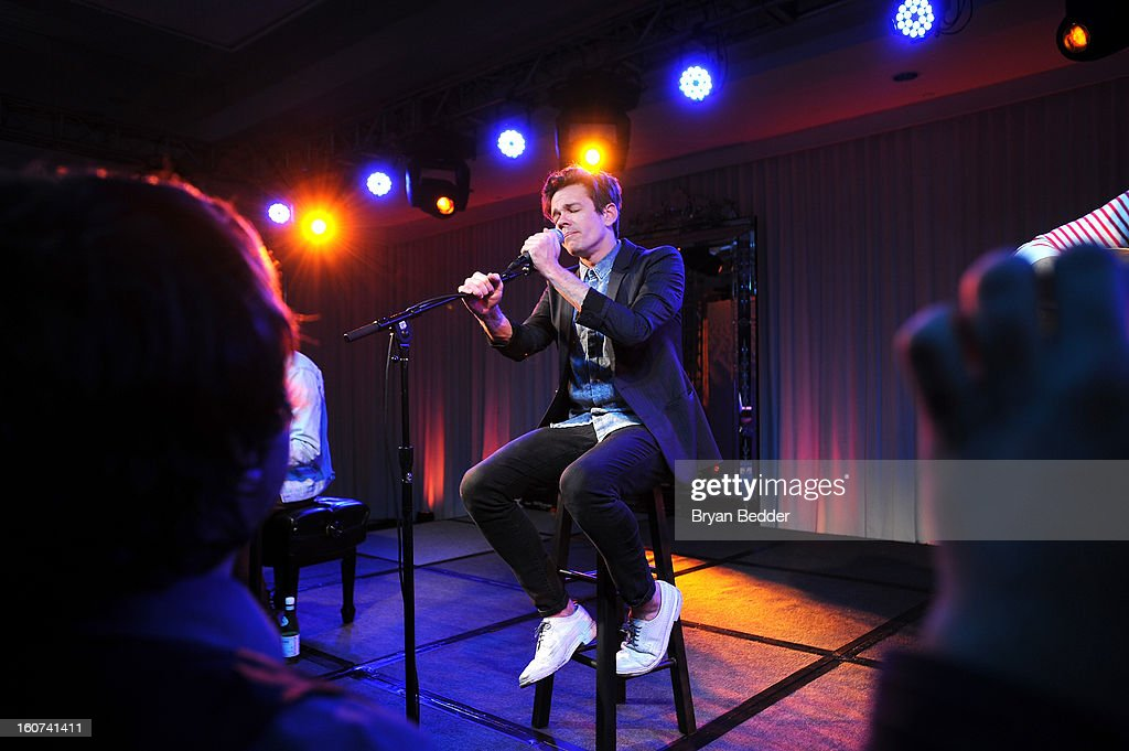<a gi-track='captionPersonalityLinkClicked' href=/galleries/search?phrase=Nate+Ruess&family=editorial&specificpeople=6897270 ng-click='$event.stopPropagation()'>Nate Ruess</a> of Fun. performs a private concert to celebrate Delta Air Lines' Nonstop NYC challenge at SLS Hotel on Feb. 4, 2013 in Beverly Hills, California.