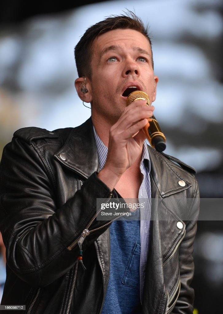 Nate Ruess of FUN. performs on Day 2 of the 27th Annual Bridge School Benefit concert at Shoreline Amphitheatre on October 27, 2013 in Mountain View, California.