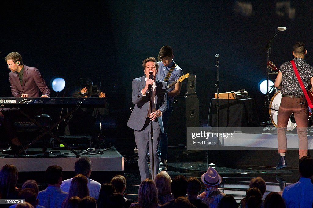 <a gi-track='captionPersonalityLinkClicked' href=/galleries/search?phrase=Nate+Ruess&family=editorial&specificpeople=6897270 ng-click='$event.stopPropagation()'>Nate Ruess</a> of fun. performs onstage at the 'Teachers Rock' benefit event held at Nokia Theatre L.A. Live on August 14, 2012 in Los Angeles, California.