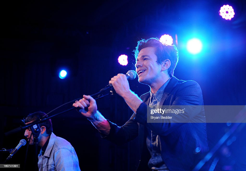 <a gi-track='captionPersonalityLinkClicked' href=/galleries/search?phrase=Nate+Ruess&family=editorial&specificpeople=6897270 ng-click='$event.stopPropagation()'>Nate Ruess</a> of the band Fun. performs a private concert to celebrate Delta Air Lines' Nonstop NYC challenge at SLS Hotel on Feb. 4, 2013 in Beverly Hills, California.