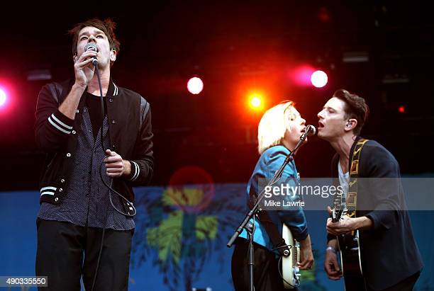 Nate Ruess performs onstage during day three of the Boston Calling Music Festival at Boston City Hall Plaza on September 27 2015 in Boston...