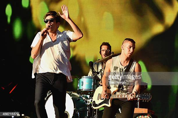Nate Ruess Will Noon and Jack Antonoff of Fun perform onstage at the 2014 Global Citizen Festival to end extreme poverty by 2030 in Central Park on...