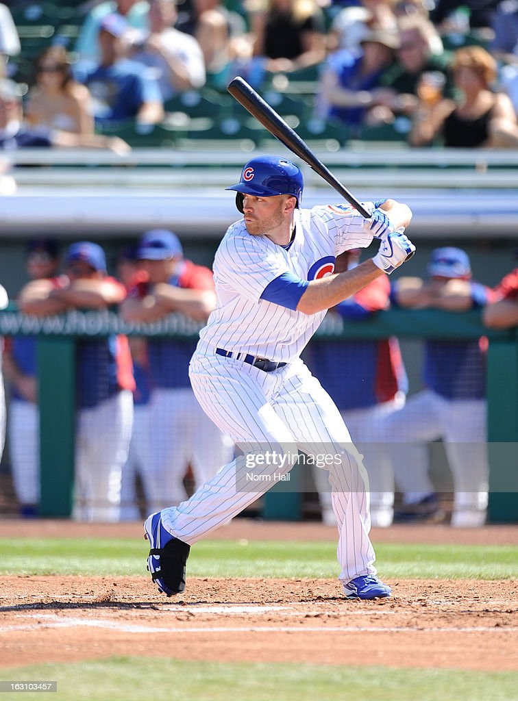 <a gi-track='captionPersonalityLinkClicked' href=/galleries/search?phrase=Nate+Schierholtz&family=editorial&specificpeople=803208 ng-click='$event.stopPropagation()'>Nate Schierholtz</a> #19 of the Chicago Cubs gets ready in the batters box against the Arizona Diamondbacks at HoHoKam Park on March 1, 2013 in Mesa, Arizona.